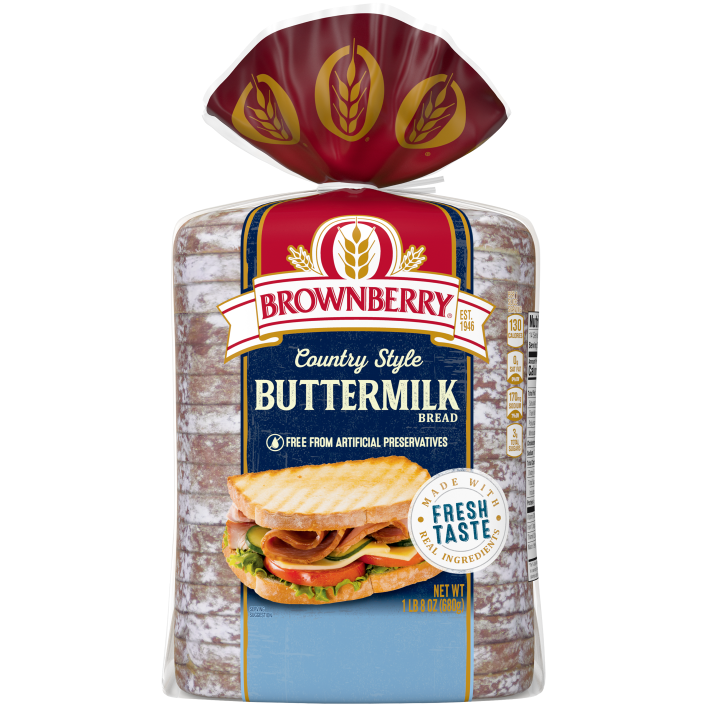 Brownberry Country Style Buttermilk Bread 24oz Packaging