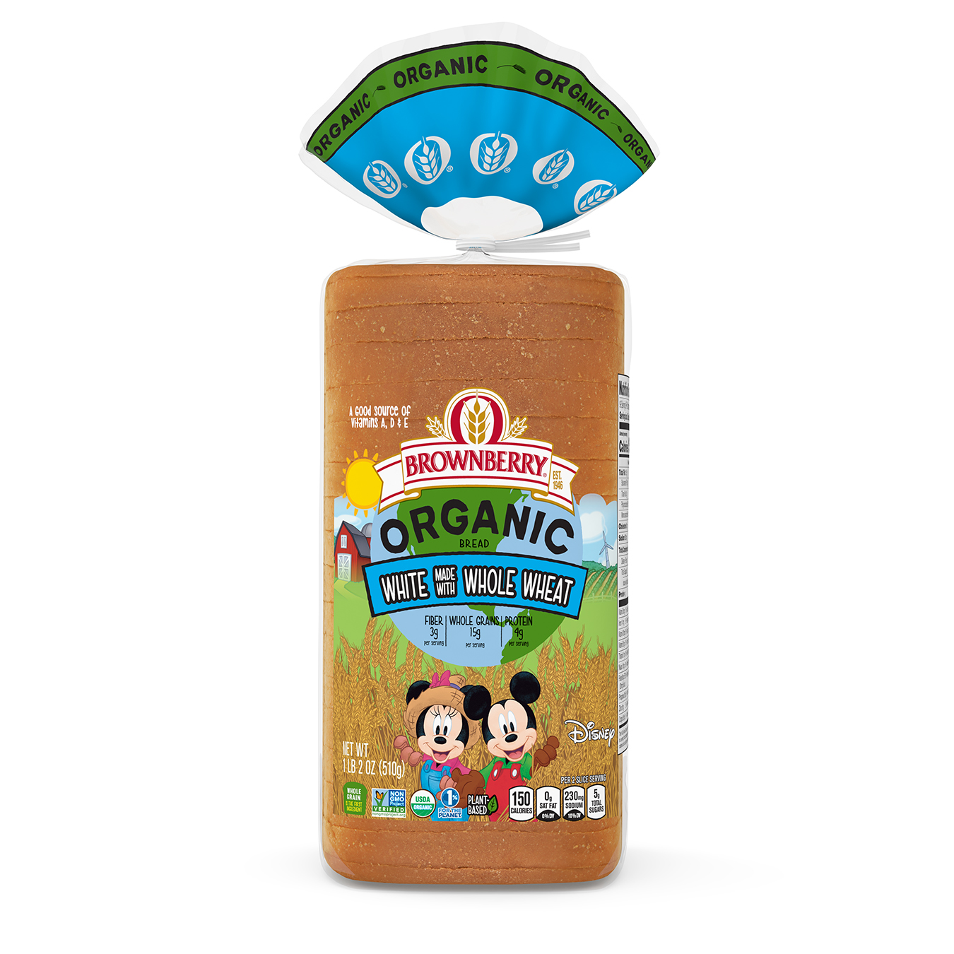 Brownberry Organic for Kids White made with Whole Wheat 18oz Packaging