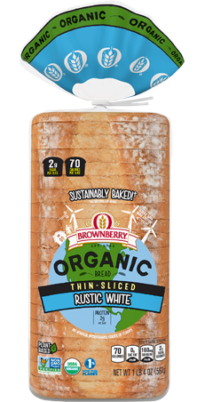 Brownberry Organic Thin Sliced Rustic White Bread Package