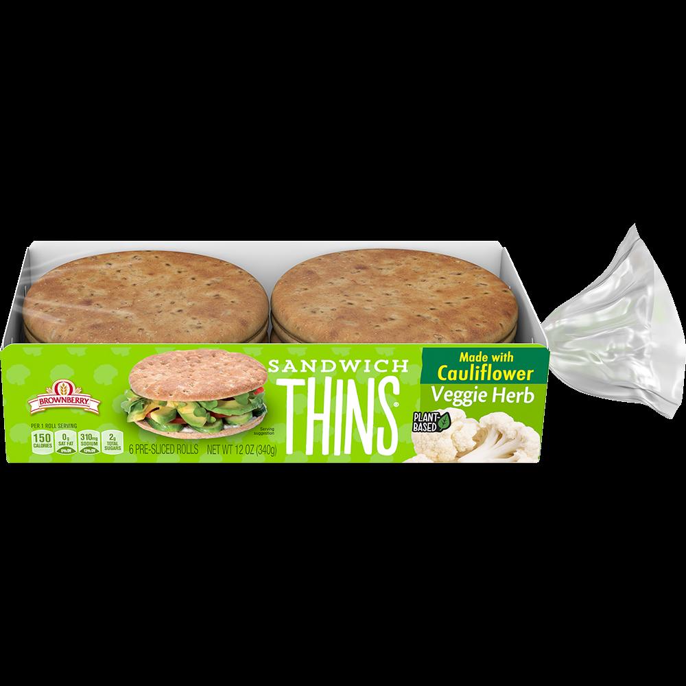 Brownberry Veggie Herb Sandwich Thins Rolls Made with Cauliflower