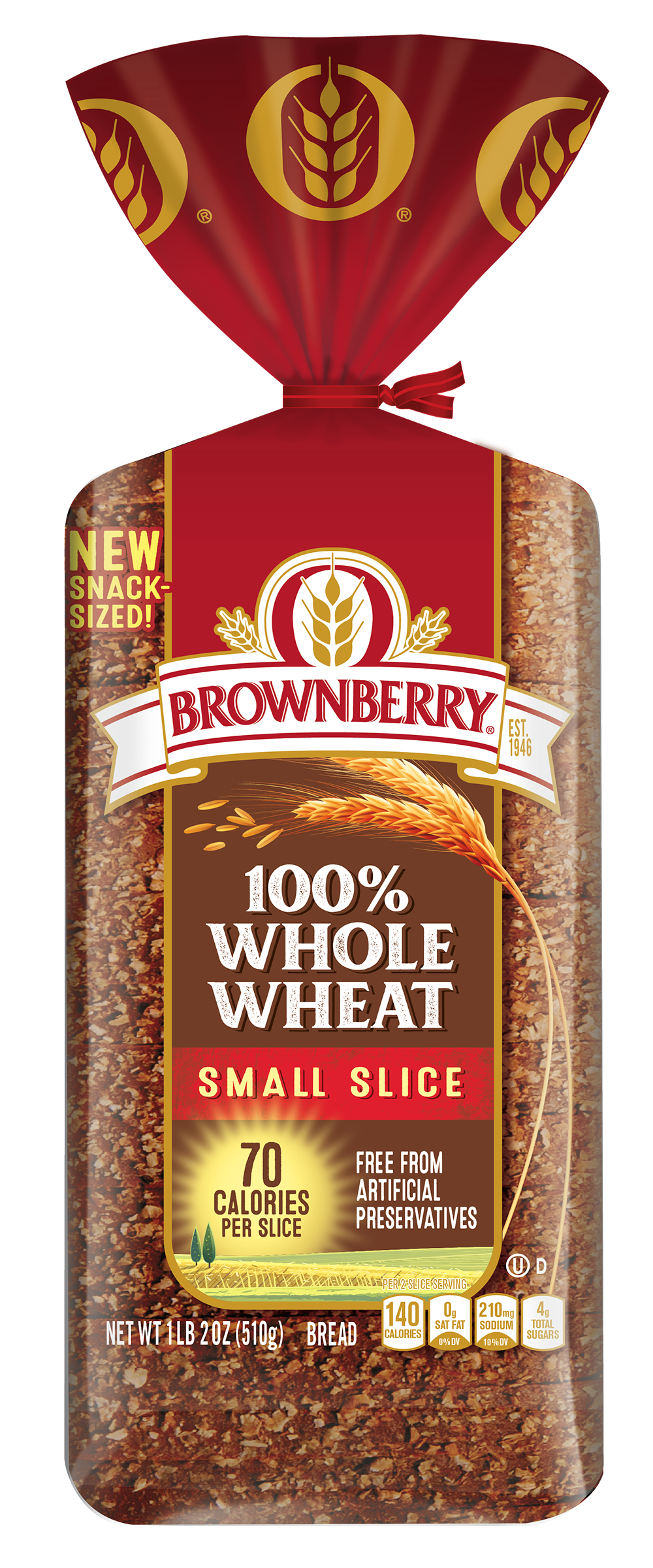 Brownberry Small Slice 100% Whole Wheat 18oz Packaing
