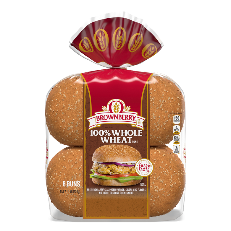 Brownberry 100% Whole Wheat Sandwich Buns Package