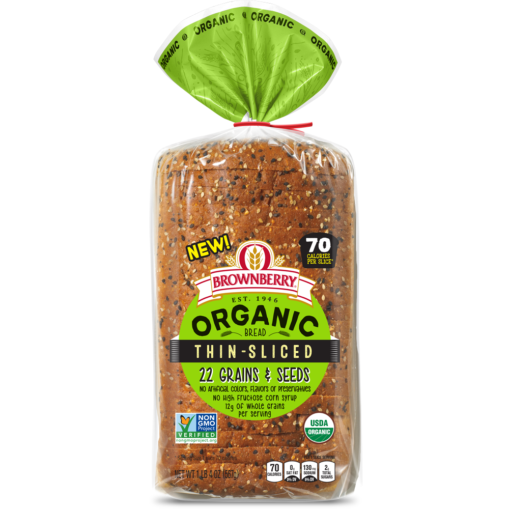 Brownberry Organic Thin Sliced 22 Grains & Seeds Bread Package Image