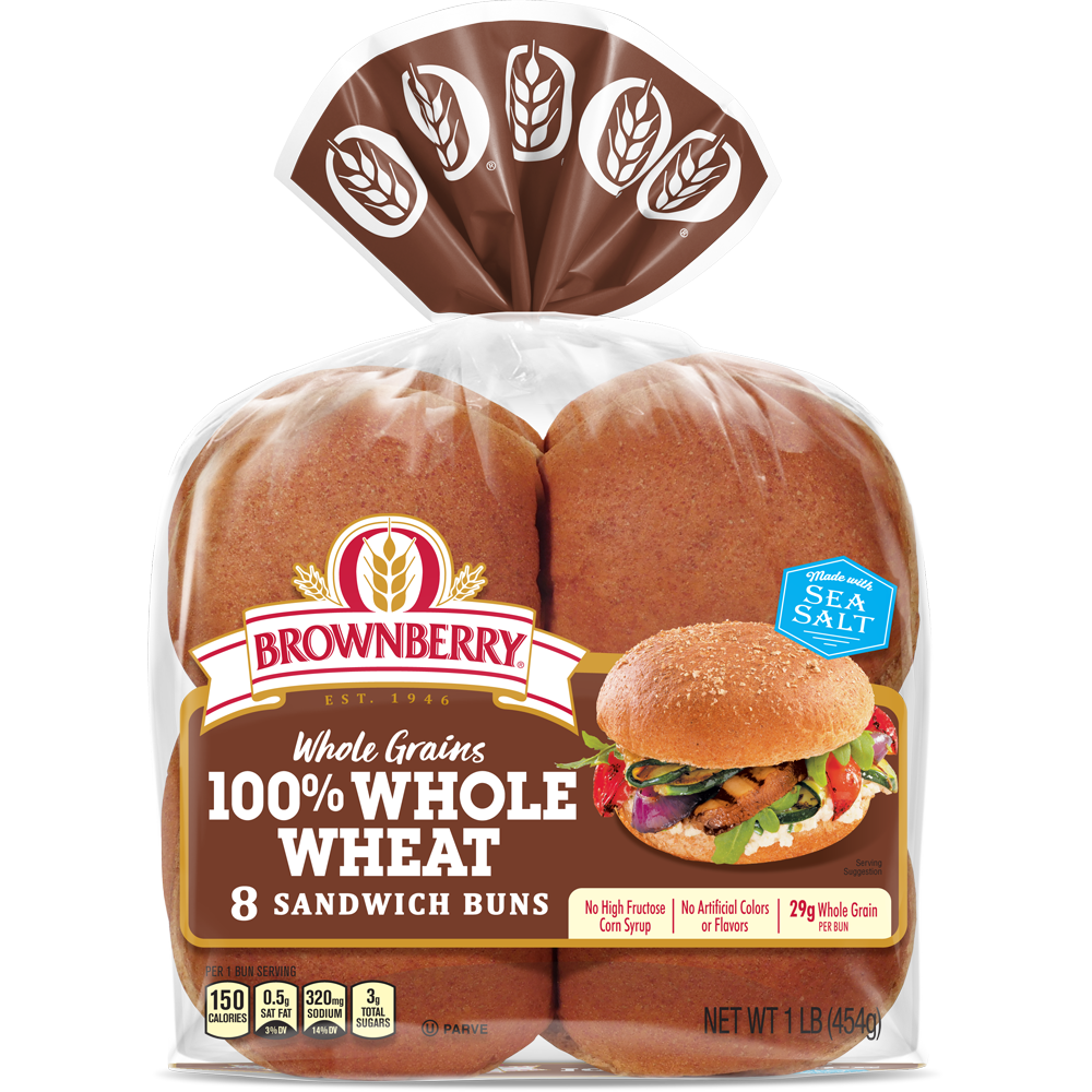 Brownberry 100% Whole Wheat Sandwich Buns Package Image